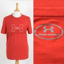 MENS UNDER ARMOUR SPORTS T-SHIRT RED PRINTED LOGO GYM RUN ACTIVEWEAR LARGE L