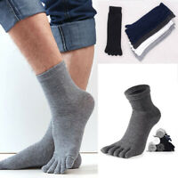 Mens Five Fingers Soft Polyester Cotton Toe Socks Ankle Solid Color Breathable