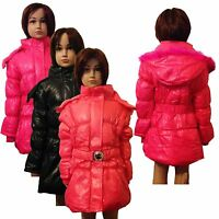 New Girls WARM Winter Jacket Padded Belted Coat Faux Fur Hood 3-14years #53