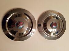TWO (2) TRIUMPH TR-2 TR-3 TR-4 STEEL DOG DISH HUBCAPS ORIG VGC CLOISONNE BADGE