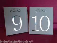 White Table Number Tent Style Wedding Birthday Table Decor Silver Foil