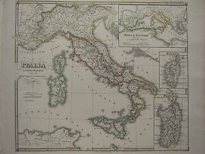 1850 SPRUNER ANTIQUE HISTORICAL MAP ~ ITALY PUNIC WARS WEST ROMAN EMPIRE CORSICA