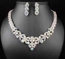 FLORAL AB WHITE AUSTRIAN RHINESTONE CRYSTAL NECKLACE EARRINGS SET BRIDAL N1601AB
