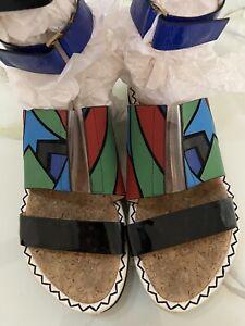 Peter Pilotto Nicholas Kirkwood MultiColor Laser Cut Leather Sandals - 41, 11