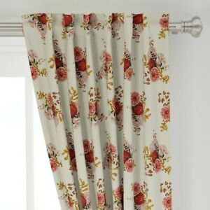 """Retro Flower Romantic Bouquet Rose Green 50"""" Wide Curtain Panel by Roostery"""