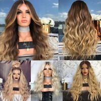 Blonde Lace Natural Cool Hair Women Curly Wigs Cosplay Long Wavy Front Wig