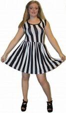 Insanity black/white striped dress, alternative, retro clothing, official merch
