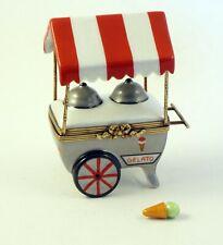 New French Limoges Trinket Box Ice Cream Gelato Cart w Removable Ice Cream Cone
