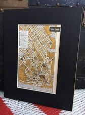"""City Map of Quebec Canada 1958 Mid Century Black Matted 8""""x10"""" Art Print travel"""
