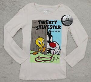Looney Tunes Tweety & Sylvester Girls Top Printed Diamanté T-shirt 9-10 Years