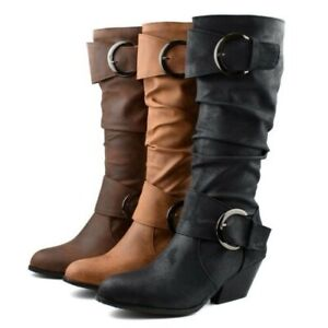 Retro Womens Mid-calf Boots Buckle Strap Knight Riding Boot Round Toe Shoes