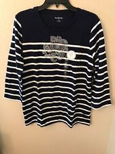 NWT Kim Rogers Women's XL Navy White Striped Silver Sparkle Paisley Floral Top