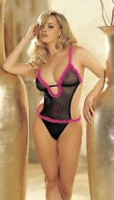 "Black / Hot Pink Mesh ""Pussy Cat"" Teddy One Size Shirley 96020"