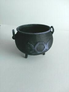 "Miniature Dollhouse Black Cauldron Triple Moon Phase Halloween Witch 1.5"""