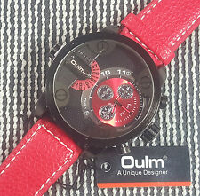 Oulm 3130 Military Army Dual Dial RED Leather Sport Wrist Watch RED