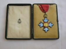 Wonderful large C.B.E. Sterling Silver/Guilloche Enamel Medal with case.