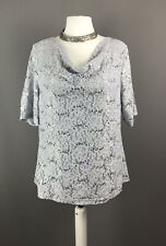 Emanuel Size 22 Ladies Top Grey Silver Lace Pattern Overlay Stretch Christmas