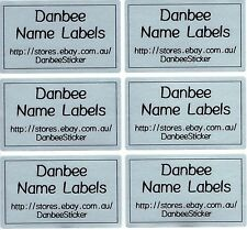 42xExtra Large Silver Personalised Name Labels Stickers, 50mm x 30mm, Waterproof