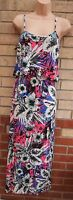 G21 STRAPPY RUFFLE PINK FLORAL TROPICAL WHITE BLUE GREEN LONG MAXI DRESS 10 S