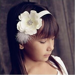 Peony Flower with Feather & Rhinestones Headbands Hair Accessories