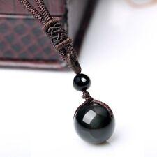 Natural Black Rainbow Eye Obsidian Pendant Necklace in Velvet Pouch/Free P&P/UK
