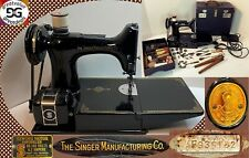 Vintage 1941 Singer Featherweight Sewing Machine 221 w/Case, Pedal & Accessories