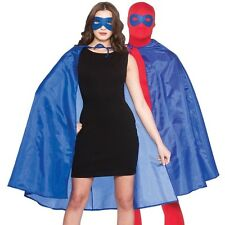 Adult Mens Ladies Unisex Superhero Fancy Dress Kit Cape & Mask Blue Cloak New w