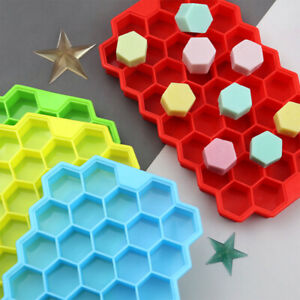 Silicone Ice Cube Tray Mould Honeycomb Shape  Freezer Maker Mold 37 Grids +Cover