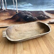"""Vintage Wooden Dough Trencher Bowl Primitive Farmhouse Large 19.5"""""""