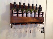Hand made wooden rustic 4 bottle wine rack home club bar restaurant cafe