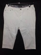 Dean St. Troper France Women's Capris, Cropped White Cotton Pants Size 16    AA1