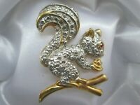 Gold Tone Textured Squirrel Ruby Rhinestone Wildlife Animal Costume Brooch Pin