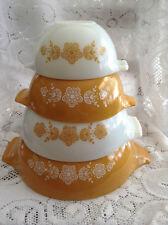 Vtg. 4 Piece Nesting Bowl Pyrex Gold Butterfly Pattern