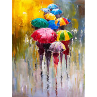 Umbrellas In The Rain Painting Art Print Canvas Premium Wall Decor Poster
