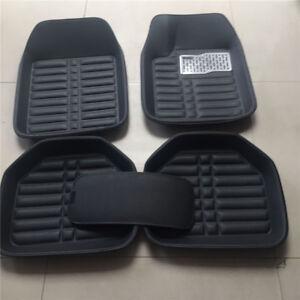 5Pcs 5-Seats Car Floor Mats Front+Rear Dust Liner Black PU Leather Universal