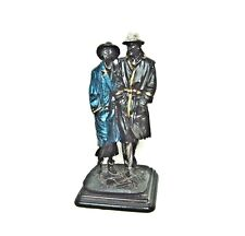 """Vintage French sculpture """"Man and woman in the night"""" Retro fashion"""