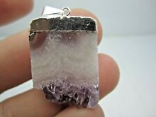LG. POLISHED AMETHYST/AGATE SLICE PENDANT W/SILVER-PLATED SETTING -BEST PRICE