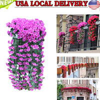 Hanging Flowers Artificial Violet Flower Wall Wisteria Basket Hanging Garland Vi