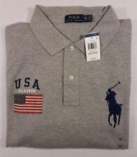 NWT Men's POLO RALPH LAUREN Gray Mesh BIG PONY & USA FLAG Polo Shirt size 2XLT