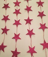 Star Bunting / Garland - Pink Glitter Party Event Celebration Decor 3m length
