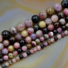 "Natural Multi Color Tourmaline Round Gemstone Beads 15.5"" 4mm 5mm 6mm 7mm 8mm"