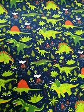 cotton jersey fabric stretch half metre 50cm dinosaurs on navy