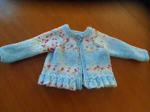 """Hand knitted round neck cardigan,12""""-18"""" blue"""