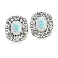 925er Silber Künstlicher Opal Weiß Blau & Weiß Topas Oval Ohrstecker