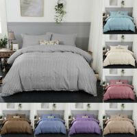 Striped Solid Quilt Duvet Cover Twin Queen King Size Bedding Set Bed Printed New