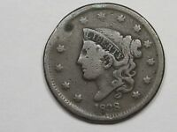 1838 US Coronet Head Large Cent Coin (w/ Rim Damage).  #2