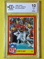 Rare JOHN ELWAY 1985 Topps #3 Glossy Inserts Denver Broncos - BCCG 10 MINT