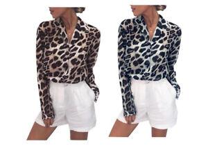 Leopard Print Summer Lightweight Blouse Tops Shirt *NEW*