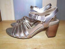 New CLARKS Artisan Gold Leather Heeled  Womens Sandals UK-4D EU-37