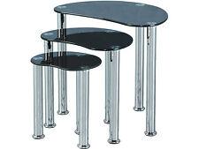 Seconique Cara Nest of Tables (3) - Black Glass & Chrome - Modern Design